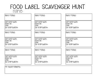 Food Label Scavenger Hunt (New Zealand)