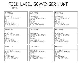 Food Label Scavenger Hunt ( New Zealand / UK )