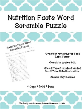 Nutrition Facts Word Scramble