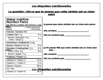 Food Labels - In French