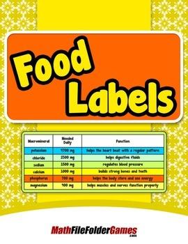 Food Labels {Mental Math Activity}