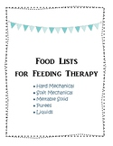 Food List for Feeding Therapy