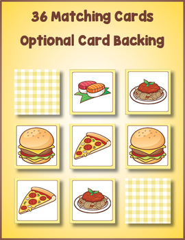 Food Matching Card Game for Preschool
