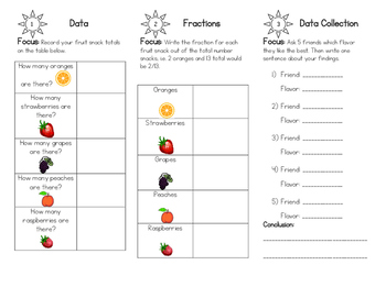 Food Math: Fruit Snack Math! - Fractions, Data Collections, and More...