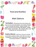 Food Math Stations- Working with Money