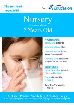 Food - Milk : Letter H : Hair - Nursery (2 years old)
