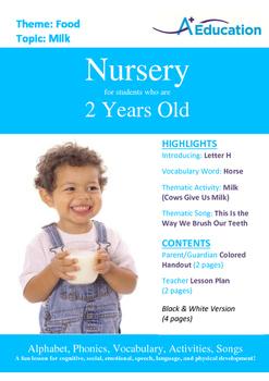 Food - Milk : Letter H : Horse - Nursery (2 years old)