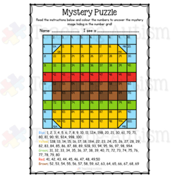 Food Mystery Puzzle Number Grid