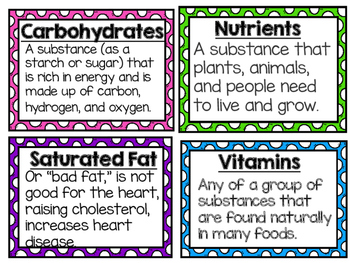 Food, Non Food, and Nutrition Vocabulary Cards 4.L.2