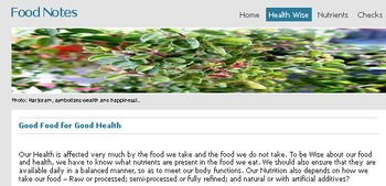 """Food Notes -A Brief & Beneficial """"Food-Health"""" Web Tour (FREE Sample Version)"""