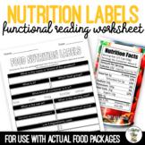 Food Nutrition Label Worksheet Life Skills Special Education