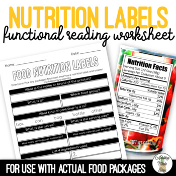 Food Nutrition Label Worksheet Life Skills Special Education   TpT