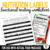 Food Nutrition Label Worksheet Life Skills Special Education