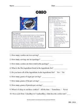 Food & Nutrition- Oreo Worksheet