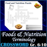 Food & Nutrition Terminology Crossword Puzzle Activity Worksheet