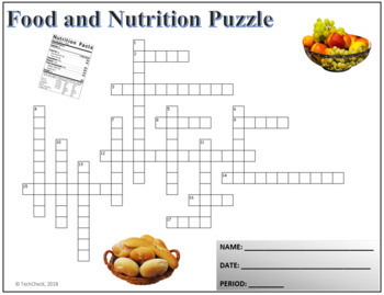 Food & Nutrition Terminology Crossword Puzzle Activity Worksheet
