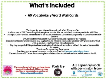 Food & Nutrition Vocabulary Word Wall (60 words) Autism, SPED, Life Skills