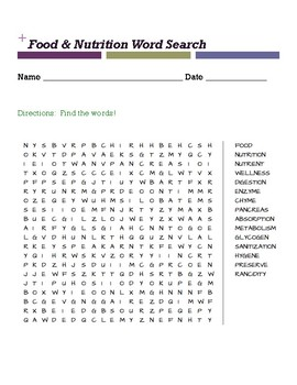 Food & Nutrition Word Search
