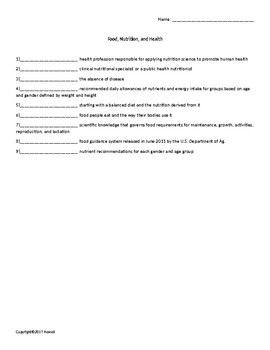 Food, Nutrition, and Health Quiz or Worksheet for Nutrition and Health Students