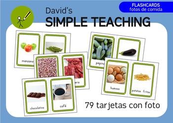 Food PHOTO Flashcards in Spanish - Tarjetas de comida en Español