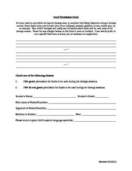 Food Permission Form
