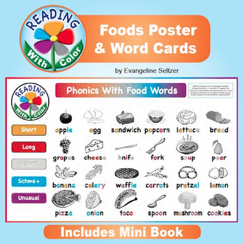 Reading With Color: Foods Poster, Word Cards, and Mini Book