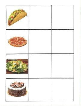 Food Picture and Word Match File Folder Game