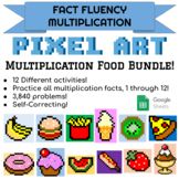 Food Pixel Art Multiplication MEGA Bundle! Includes 12 Different Activities!