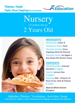 Food - Pizza Toppings (Ham & Cheese) : Letter G : Gum - Nursery (2 years old)