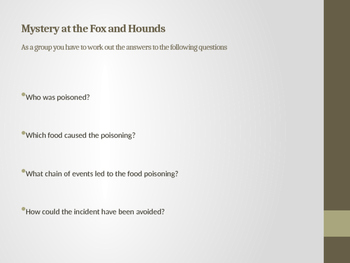 Food Poisoning Group Activity Instructions and Answers