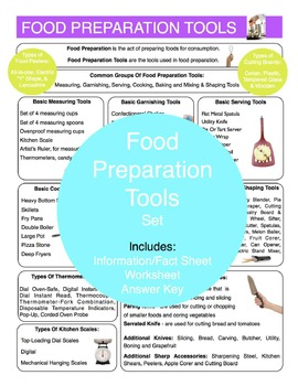 Food Preparation Tools Content Sheet, Worksheet And Answer Key