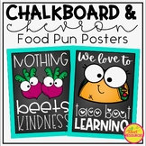 Food Pun Posters in A Chalkboard and Teal Classroom Decor Theme