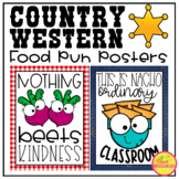 Food Pun Posters in a Country Western Classsroom Decor Theme