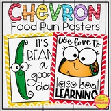 Food Pun Posters in a Rainbow Chevron Classroom Decor Theme