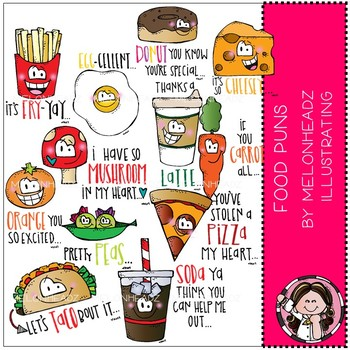 Food Puns clip art  -  COMBO PACK - by Melonheadz