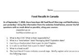 Food Recalls in Canada (Webquest)