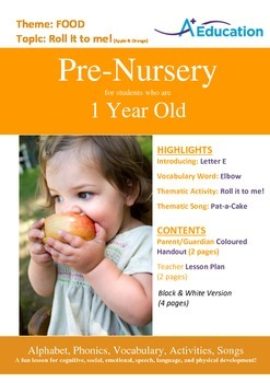 Food - Roll it to me! (Apple & Orange) : Letter E : Elbow - PN (1 year old)