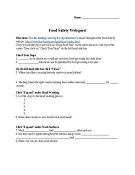 Food Safety Webquest by FACS are Fun | Teachers Pay Teachers