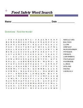 Food Safety Word Search