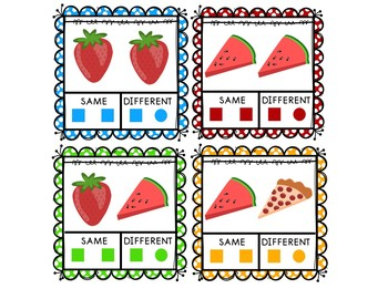 Food Same and DIfferent Clip Cards