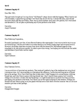 Food Science & Technology CDE: Customer Complaint Letters 1