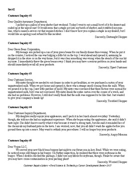 Food Science & Technology CDE: Customer Complaint Letters 2