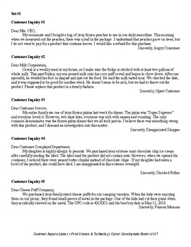 Food Science & Technology CDE: Customer Complaint Letters 3