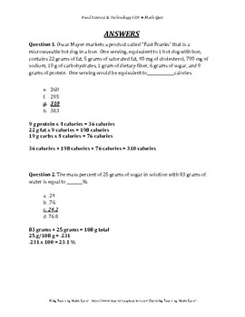 Food Science & Technology CDE: Math Quiz 2