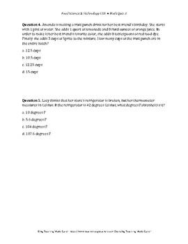 Food Science & Technology CDE: Math Quiz 3