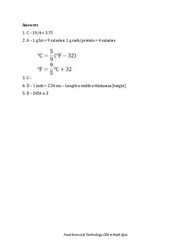 Food Science & Technology CDE: Math Quiz 1