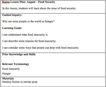 Food Security - August