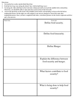 Food Security and Hunger Activity and Foldable