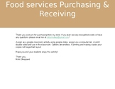 Food Services Purchasing & Receiving activity