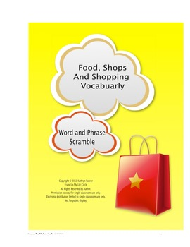Food, Shops, and Shopping Vocabulary: Word and Phrase Scramble